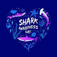 Love Shape Shark Awareness Day Concept vector