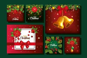 set of merry christmas poster with decoration vector
