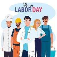labor day poster with people group different occupation vector