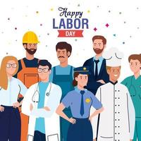 labor day poster with people of different occupation vector