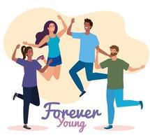 feliz día de la juventud, los adolescentes se agrupan para la celebración del día de la juventud vector