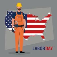 cartel del día del trabajo con trabajador de la construcción y mapa de estados unidos vector