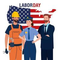 labor day poster with people of different occupation and usa map vector