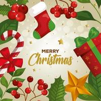poster of merry christmas with decoration vector