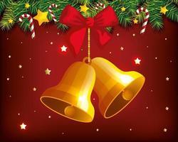 cartel navideño con campanas colgantes y decoración. vector