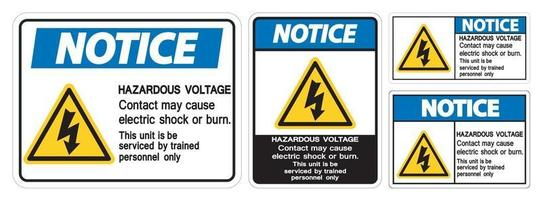 Notice Hazardous Voltage Contact May Cause Electric Shock Or Burn Sign On White Background vector