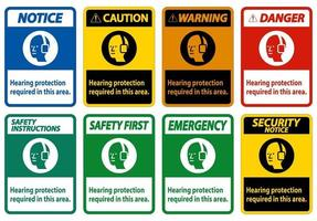 Hearing Protection Required In This Area with Symbol vector