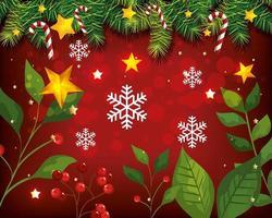 cartel navideño con hojas y decoración. vector