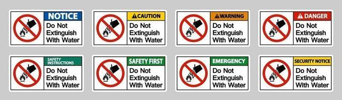 No apague con signo de símbolo de agua sobre fondo blanco. vector