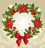 christmas poster with wreath and decoration vector