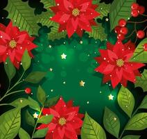 christmas poster with flowers and decoration vector