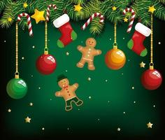 christmas poster with hanging ginger cookies and decoration vector