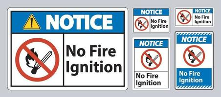 Notice No Fire Ignition Symbol Sign On White Background vector
