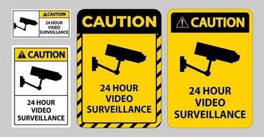 Caution Sign CCTV 24 Hour Video Surveillance vector