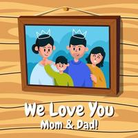 Happy Family in Picture Frame vector