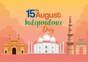 famous monuments of india, 15th august for happy independence day in background vector