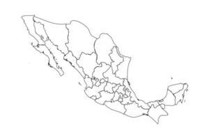 Doodle Map of Mexico With States vector