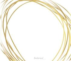 Hand drawn circle gold line background vector