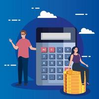 couple with calculator and pile of coins vector