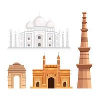 set of india architecture traditional icons vector