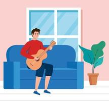 young man playing guitar sitting in a couch in living room vector