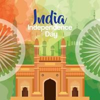 indian independence day celebration with ashoka wheels and famous monuments vector
