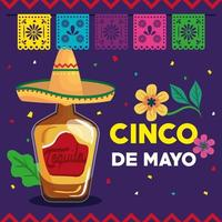 cinco de mayo poster with tequila bottle and decoration vector