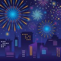 Awesome Firework Above City Silhouette vector