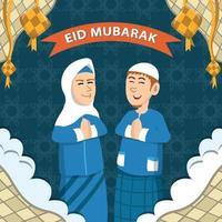 Muslim Couples Celebrate Eid and Ketupat vector