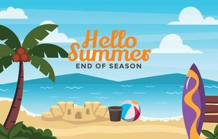 Items You See on Beach During Summer Background vector