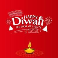 Happy Diwali wishes typographic free vector illustration design