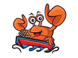 personaje de dibujos animados feliz cangrejo de mariscos conduciendo el bote en el mar vector