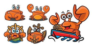 Cartoon cute crab with different poses mascot series set vector