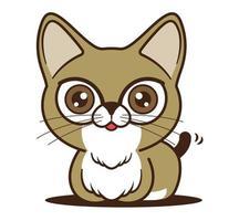 caricatura, lindo, gato, con, cola, temblando, carácter, mascota vector
