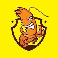 personaje de dibujos animados de la mascota de la gamba loca por el tema del deporte vector