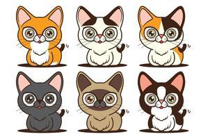 Cartoon cute cat character different species mascot set vector