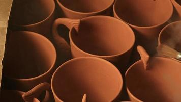 Clay Pots in a Ceramic Studio Workshop video