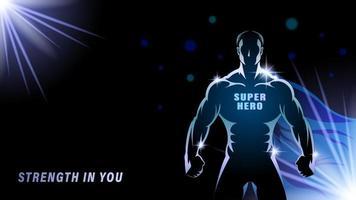 Super Hero man silhouette cartoon style vector