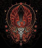 Mythical phoenix tattoo art fire bird illustration vector