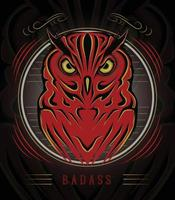 Decorative ornamental illustration owl for T shirt design vector