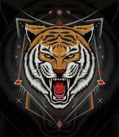 Tiger anger vector art  Animal logo template