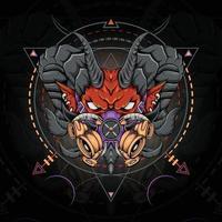 Devil head with mask apocalypse on sacred geometry symbol vector