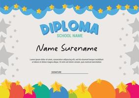 Diploma template for kids with stars and colorfull sky abstract stars background vector