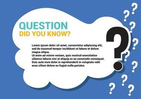 did you know question memo Help and support page template with question mark cloud black blue vector