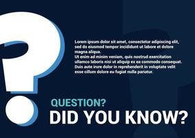 did you know question memo Help and support page template with question mark vector