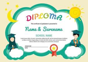 Preschool kids diploma certificate background template with sun moon cloud kids teen muslim hijab vector