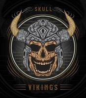 Viking skull illustration with vintage style vector