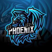 diseño de logotipo de mascota de deporte de fénix azul vector