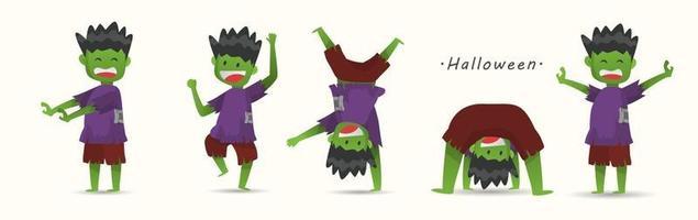 Happy Halloween day Zombie kid cartoon characters design Vector