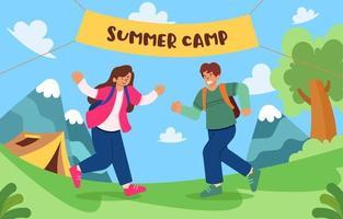 divirtiéndose en el campamento de verano vector